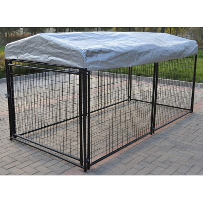 Omitree New Heavy Duty Large Modular Dog Kennel Welded Steel Panel Pet Cover 4.5' W x 9.5' L x 5' H