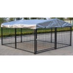 Omitree New Heavy Duty Large Modular Dog Kennel Welded Steel Panel Pet Cover 9.5' W x 9.5' L x 5' H