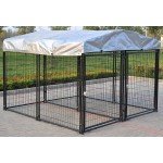 Omitree New 2 Dog Modular Kennel Heavy Duty Welded Steel Panel Pet Run 7.5' W x 7.5' L x 5.5' H