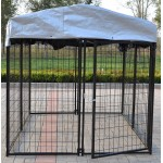 Omitree New Modular Dog Kennel Heavy Duty Welded Steel Panel Pet Cover 5' W x 5' L x 5' H