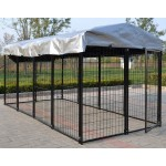 Omitree New Modular Dog Kennel Heavy Duty Welded Steel Panel Pet Cover 5' W x 10' L x 5.5' H