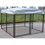 Omitree New Heavy Duty Large Modular Dog Kennel Welded Steel Panel Pet Cover 7.5' W x 7.5' L x 5.5' H