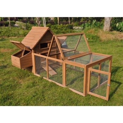 Huge 8' Chicken Coop Running Cage Backyard Poultry Hen House Bantam Extra Large