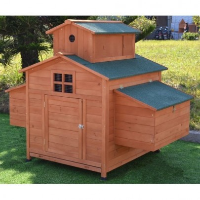 Omitree Deluxe Large Wood Chicken Coop Backyard Hen House 6-10 Chickens with 6 nesting box