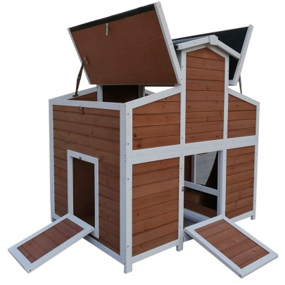Omitree Deluxe Large Backyard Wood Chicken Coop Hen House with 4 Nesting Box