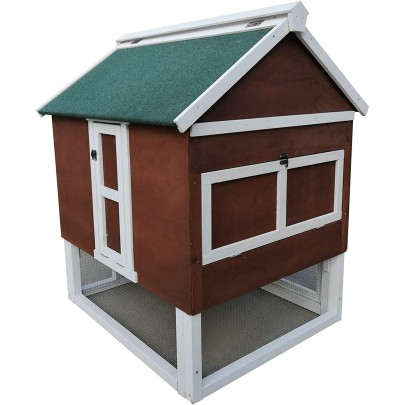 Omitree Deluxe Sturdy Wood Frame Plywood Chicken Coop Backyard Hen House 2 Nesting Box