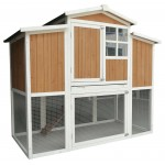 "59"" Solid Wood Chicken Coop Backyard Hen House 4-6 Chickens with Nesting Box Run"