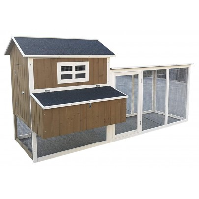 """Omitree Deluxe Large 87"""" Solid Wood Hen Chicken Cage House Coop Huge with Run Nesting Box"""
