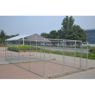 Heavy Duty Outdoor Dog Kennel Enclosure w UV stabilized Shade Cover 20'x10'x6'
