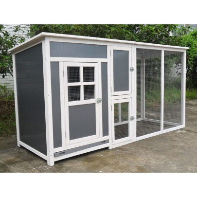"78"" Wood Frame & Plastic Chicken Coop Backyard Hen House Nesting Box & Run"
