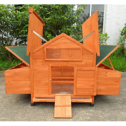 Deluxe Large Wood Chicken Coop Backyard Hen House 4-8 Chickens w 6 nesting box