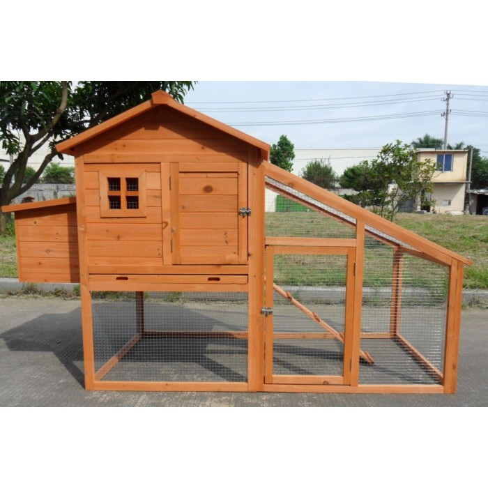 Deluxe Large Wood Chicken Coop Backyard Hen House 4 6 Chickens W Nesting  Box Run PAH002