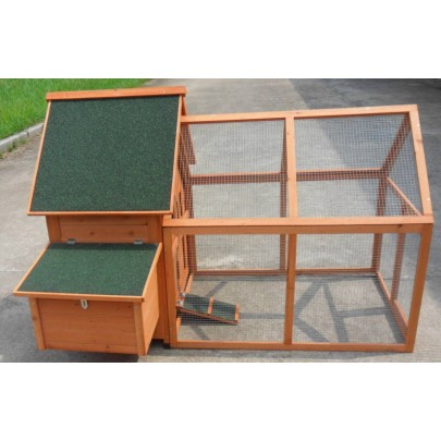"Large 64"" Deluxe wooden Rabbit Bunny Hutch Pet Run House Coop Wood Cage Suite"
